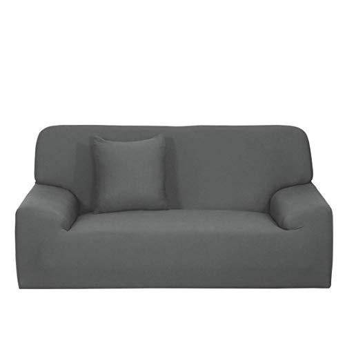 N/D - Funda de sofá extensible, funda de sofá lavable a máquina, elegante protector de muebles con funda de cojín para sofá de 4 plazas, color gris