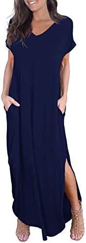 GRECERELLE Women s Casual Loose Pocket Long Dress Short Sleeve Split Maxi Dress Navy Blue Medium product image