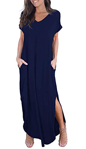 GRECERELLE Women's Casual Loose Pocket Long Dress Short Sleeve Split Maxi Dress Navy Blue Small