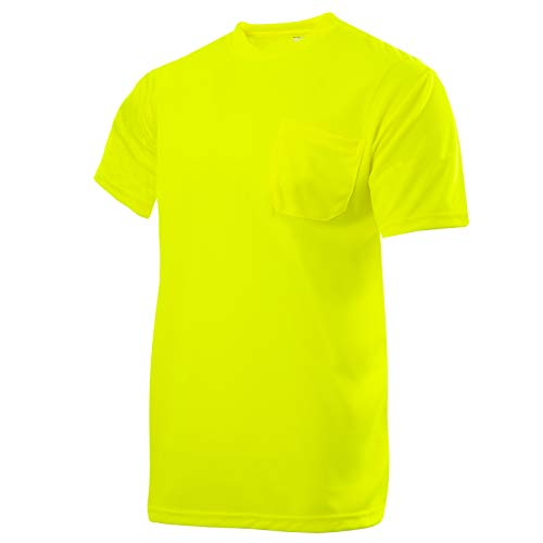 JORESTECH Safety High Visibility Short Sleeve Moisture Wicking T Shirt with Pocket Yellow/Lime TS-05 (L)
