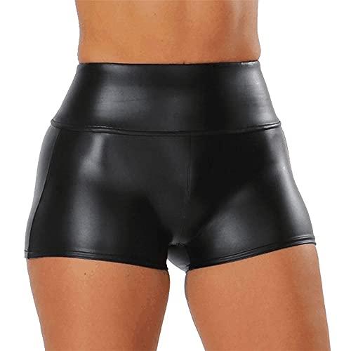 PRJN Damen Wet Look Lederhose Boxershorts Herren Schwarz Kunstleder Boxershorts Half Pants Clubwear Wet Look Lackleder Slim Boxershorts Hot Short Pants Damen Leder Booty Shorts Damenmode Leggings