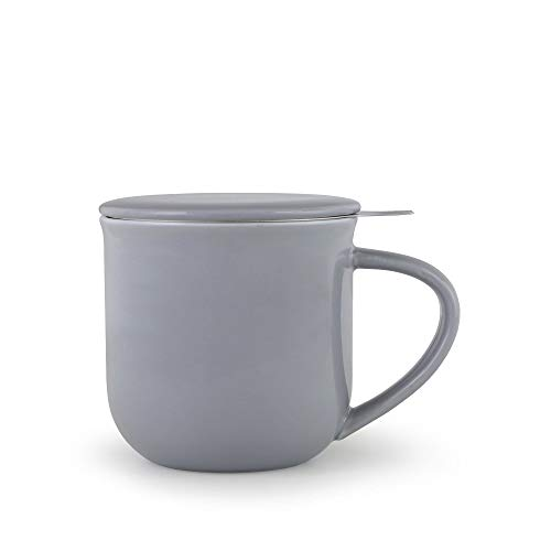 Porzellan Tee-Tasse mit Teesieb für losen Tee und Deckel, Kaffee-Becher mit Henkel, 0,55 Liter, Blau Grau