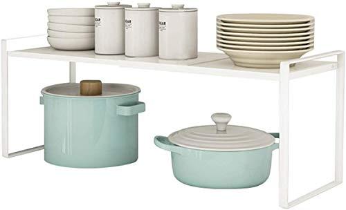 Taotigzu El estante de almacenamiento de metal extensible es para gabinetes de cocina, encimeras, cocina, alimentos y utensilios, podría ahorrar espacios, blanco (blanco(Altura 9.1in))