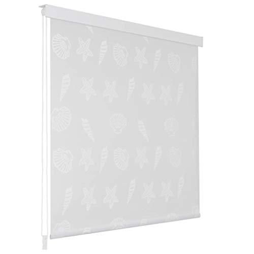 UnfadeMemory Duschrollo Badvorhang Schnelltrocknend und Wasserfest Duschvorhang als Raumteiler 100% Eva mit Aluminiumteilen Badezimmerdekor (140 x 240 cm, Seesternmuster)
