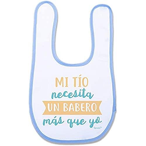 """SUPERMOLON 01690 -""""Mi Tío Necesita Un Babero Más Que Yo"""" Babero Bebe con Velcro, Azul Celeste, unisex"""
