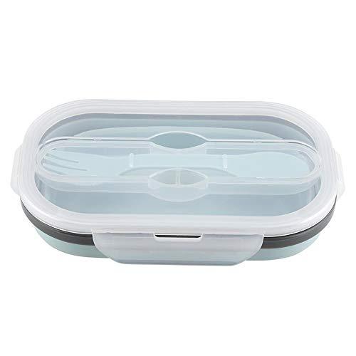Contenedores de almacenamiento plegables de la comida, fiambrera plegable del silicón de la categoría alimenticia con forma del rectángulo para la cocina(Light_Blue)