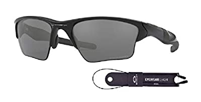 Oakley Half Jacket 2.0 XL OO9154 915405 62M Polished Black/Black Iridium Polarized Sunglasses For Men+BUNDLE with Oakley Accessory Leash Kit