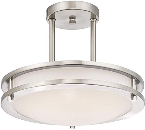 LB72131 LED Semi Flush Mount Ceiling Fixture, Antique Brushed Nickel Finish, 4000K Cool White, 1200 Lumens, Dimmable
