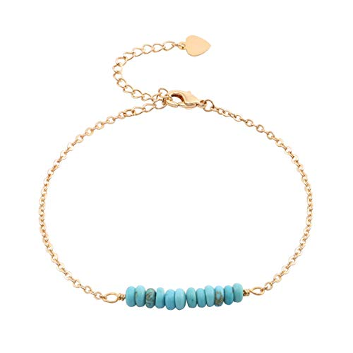 Dainty Turquoise Beads Bracelet 18k Gold Plated Chain Minimalist Jewelry for Women