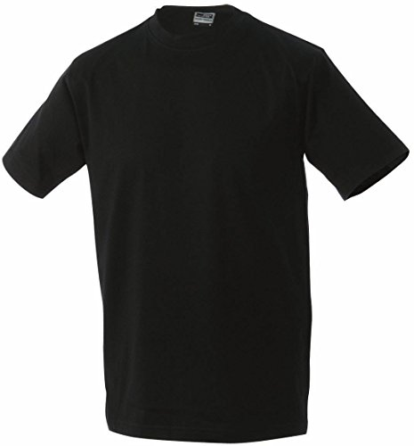 Round-T Shirt Medium/James & Nicholson (JN 001) S M L XL XXL, schwarz, L