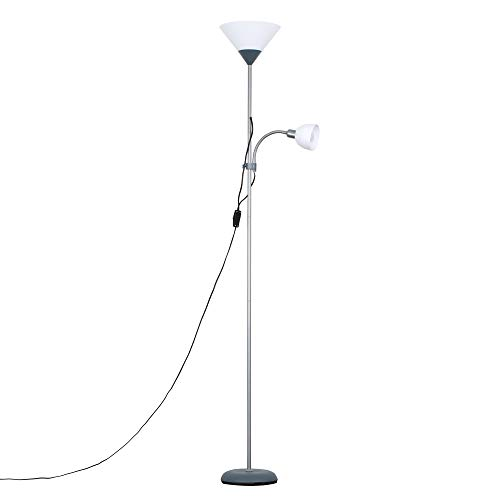 Modern Metallic Silver 2 Way Mother/Father Parent & Child Uplighter and...