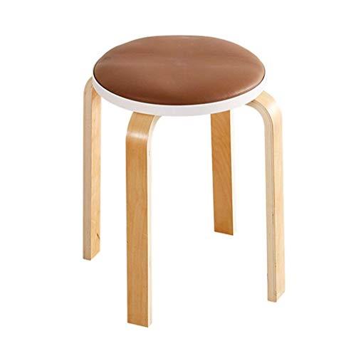 Tabouret rembourré Repose-pieds Chaise en bois salle à manger ronde Support anti-poussière pour habiller Tabouret de maquillage Siège en cuir PU pour restaurant Meubles de salon Heavy Duty