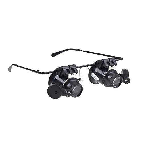 Luoshan 20X Gafas Tipo Reloj Reparación Lupa Lupa con luz LED (Negro)