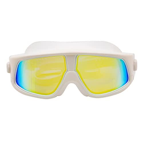 LANGTAO Gafas Buceo Alta Definición, Gafas Impermeables Antivaho, Gafas Natación Resistentes Desgaste con Montura Grande, Gafas Silicona Anti-Ultravioleta, Aptas para Nadar Surfear,Blanco