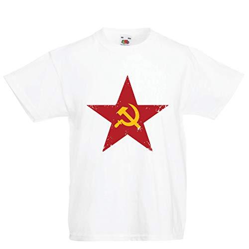 lepni.me Kinder Jungen/Mädchen T-Shirt URSS СССР Marteau et faucille, Symbole du prolétariat socialiste (3-4 Years Weiß Mehrfarben)