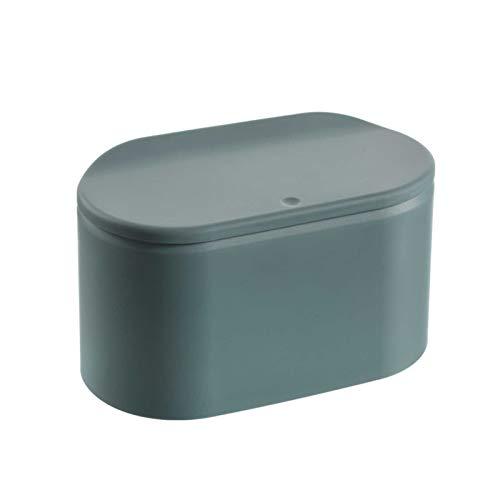 Tischmülleimer mit Push Deckel, Mini Abfalleimer Tisch Mülleimer, Schreibtisch kompaktes Design Kosmetikeimer für Küche Badezimmer Büro Schreibtisch (Grün)