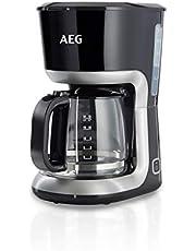 AEG KF3300 Cafetera Serie 3 de 12 Tazas, Jarra de Cristal con Indicador de Nivel,Apta Lavavajillas, Sistema Antigoteo, Filtro Extraible, Función Apagado Automático, 1100W,Capacidad de 1.4L, Negro
