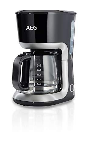 AEG KF 3300 Kaffeemaschine (Skalierte 1,5 l/12-18 Tassen Aroma-Glaskanne, Warmhaltefunktion, Sicherheitsabschaltung, Wasserstandsanzeige, Ein/Aus-Schalter, entnehmbarer Filter-Korb, schwarz/silber)