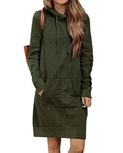 Kidsform Hoodie Damen Sweatshirt Kapuzenpullover Pulli Kleid Pullover Herbst Sweatjacke mit Tasche 3-Armeegrün M