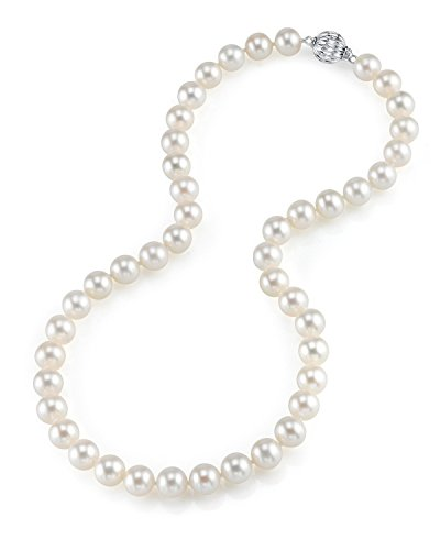 """THE PEARL SOURCE 7-8mm AAA Quality Round White Freshwater Cultured Pearl Necklace for Women in 20"""" Matinee Length"""
