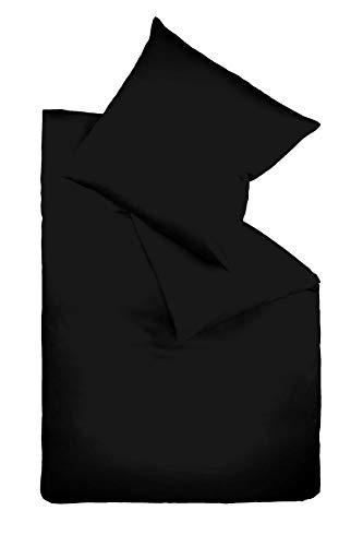 Fleuresse Colours Bettwäsche, Uni-Mako-Satin, schwarz, 155 x 220 cm