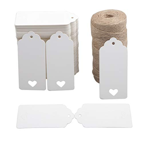 200 PCS Etiquetas de papel Kraft Etiquetas de regalo Etiquetas colgantes artesanales con 100 metros de hilo de yute natural para regalos Artesanías y manualidades DIY de regalos para fiestas navideñas