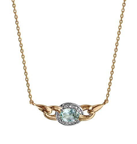 Ah! Jewellery Gift Boxed Gold Filled Oval Aquamarine Cushion Crystal Necklace, Stamped GL.