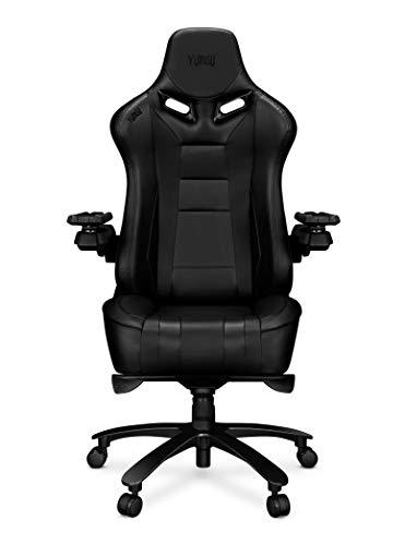 TBA Yumisu 2049 Gamingstoel, zwart, massieve, versterkte aluminium constructie met ergomultiblock-mechanisme. Zeer zachte rugleuning en zitting bieden comfort. Rubberen wielen.