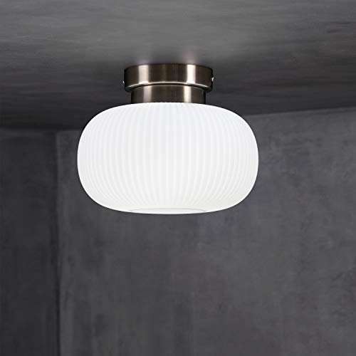 Lámpara de techo ZMH vidrio en color blanco lámpara de salón minimalista E27 lámpara de techo con zócalo diseño moderno para salón dormitorio balcón sala de estar escaleras pasillo (sin iluminación)