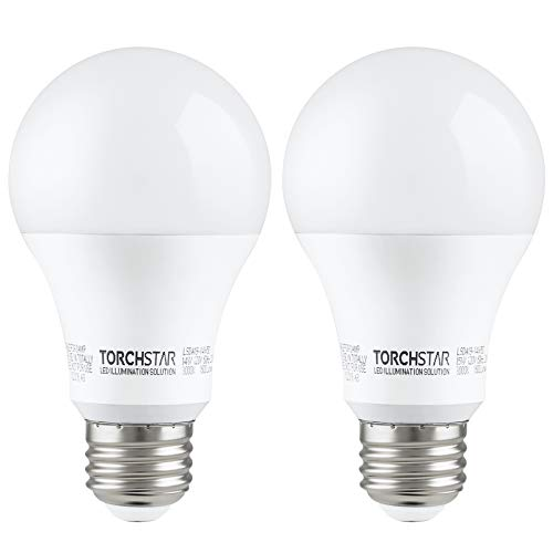 TORCHSTAR 100W Equivalent LED Garage Door Opener Light Bulb, 1500 Lumens A19 Ultra-Bright 3000K Warm White, Shock Resistant Minimize Interference, 15-Watt, UL-Listed, E26 Base, Pack of 2