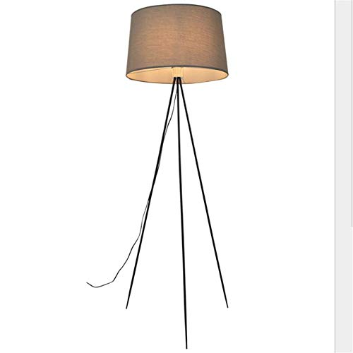 L-YINGZON Lámpara de pie simple estadounidense Negro Trípode Gris oscuro Tela tambor Pantalla E27 sola cabeza de la lámpara de pie con 1,65 M Interruptor de pie for sala de estar dormitorio Oficina de
