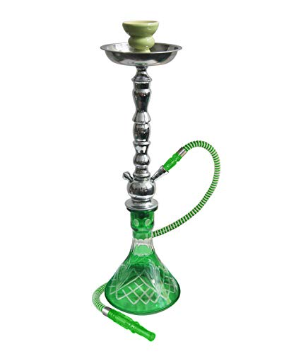 22 Inches Zelda Complete Hookah Set, Modern 1 Hose Hookah Kit with Hookah Accessories - Green Hookah Set