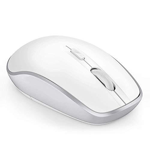 Jelly Comb 24G Kabellose Maus und Bluetooth 40 Maus Multi Device Wireless Maus Ergonomische Funkmaus fur WindowsMacOsAndroid 7 Tasten Weiss und Silber