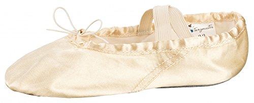 tanzmuster Zapatillas de ballet de satén con suela de piel completa para niños y adultos en color champán y rosa, tallas 22 a 45., color Dorado, talla 31 EU