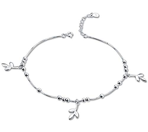 AYDOME 925 Silver Anklets for Women Three Leaf Silver Anklets for Girls