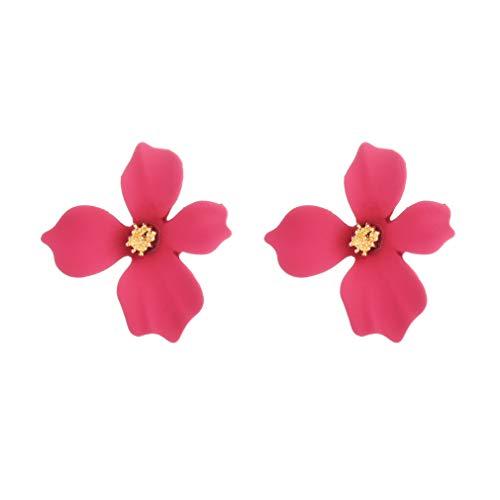 YAZILIND Simple Flower Stud Earrings Daisy Flowers Ear Studs Women Girls Jewelry(Rose Red)