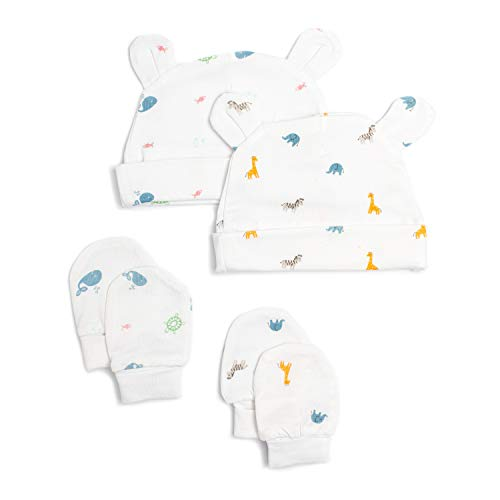 2 Bamboo Baby Hats and Anti-Scratch Mittens in Gift Box   Baby Essentials...