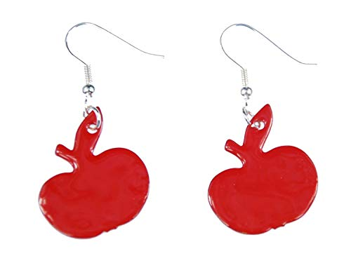 Miniblings esmalte manzana pendientes pendientes de esmalte huerto de manzanas rojas - joyería hecha a mano de plata de la manera plateo los pendientes pendientes I