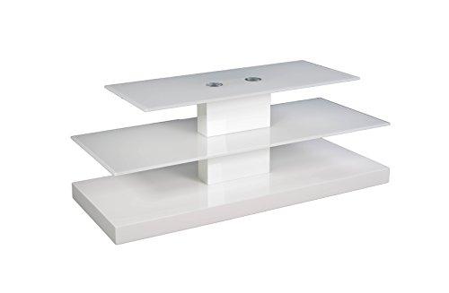 BFK Möbel Collection Xeno TV-Phonowagen, Glas, weiß, 43x110x45 cm