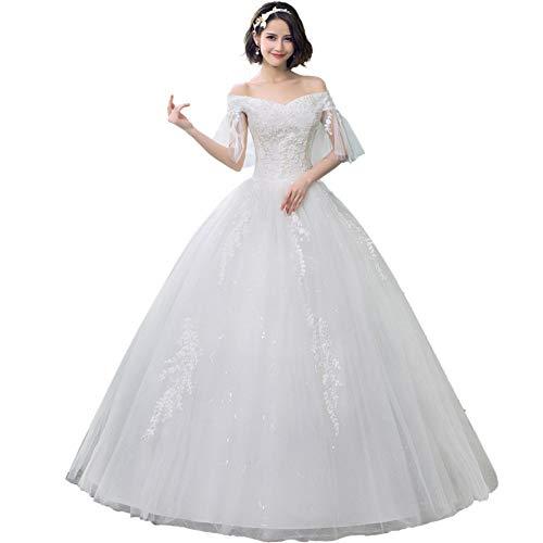 BGGYF Hochzeitskleid Damen Elegantes Ballkleid Brautkleid von der Schulter V-Ausschnitt Perlen Applikationen Schnürung weiß formelle Brautkleider