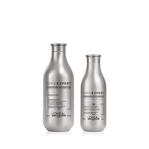 L'Oréal Professionnel Serie Expert Pflegeset für hellblondes, weißes & graues Haar   Silver Shampoo, 300 ml & Silver Conditioner, 200 ml neutralisiert Gelb- oder...