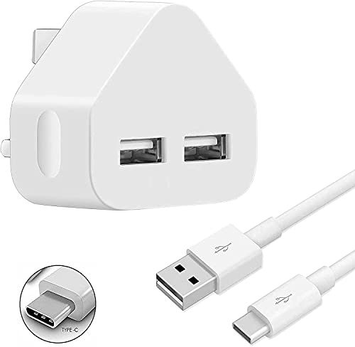 Cargador tipo C con puerto USB dual de 3 a 3 pies para Motorola Edge 20/20 Lite/Edge 20 Pro Cable de datos de carga rápida Adaptador portátil UK 3 pines enchufe de pared
