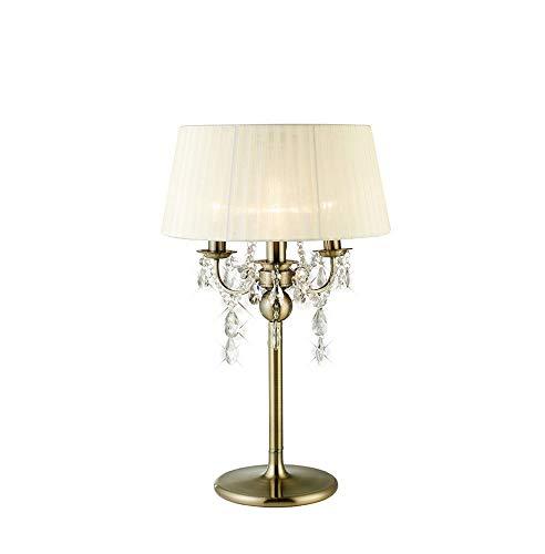 Inspired Diyas - Olivia - Lámpara de mesa con pantalla crema 3 luces de latón antiguo, cristal