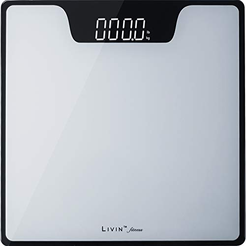 LIVIN Digital Body Weight Scale, Digital Bathroom Scale w/ Extra Large LED Display, Tempered Glass Top, High Precision, Rounded Corners, Step-On &...