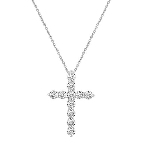 Classic Cross Pendant Necklace with Natural Round Diamonds Set in 925 Sterling Silver (.50)