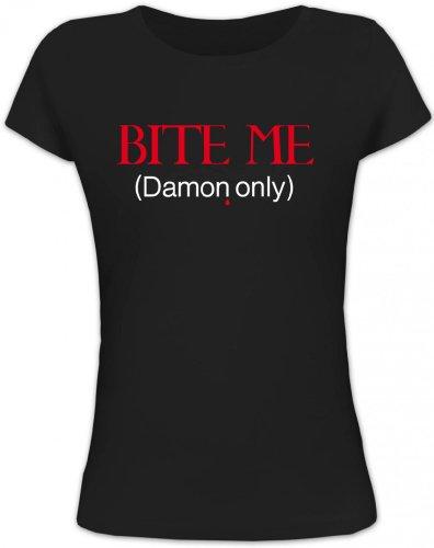 Shirtstreet24, BITE ME (Damon Only), Vampir Vampire Lady/Girlie Funshirt Fun T-Shirt, Größe: M,schwarz