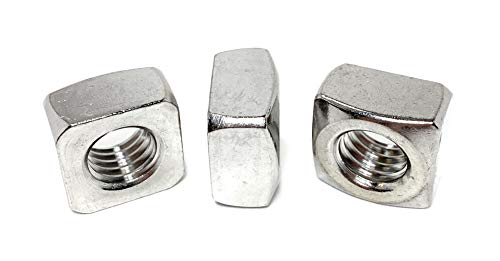 1/2-13 Stainless Steel Square Nuts 18-8 (4 Pcs)