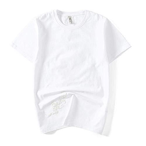 Camiseta para hombre de primavera y verano de manga corta con bordado de estilo chino Blanco blanco M