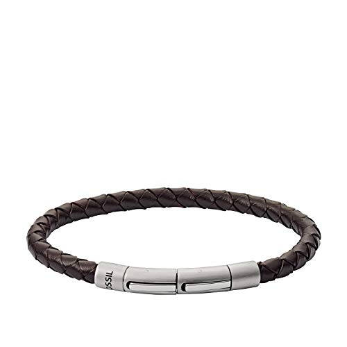 Fossil Braided Leather Cord Bracelet, Brown Braided, Silver, Inner Length: 180mm + 15mm Extender (JF03187040)