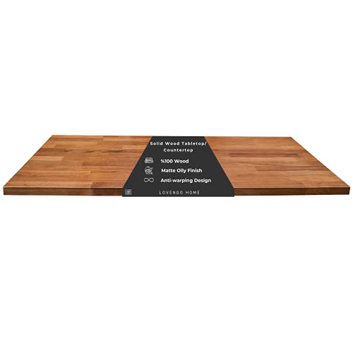Lovendo | Handmade | Solid Wood Table Top | Butcher Block Counter Top | 60'' x 24'' inch | Thickness 1.18   | Matte Finish